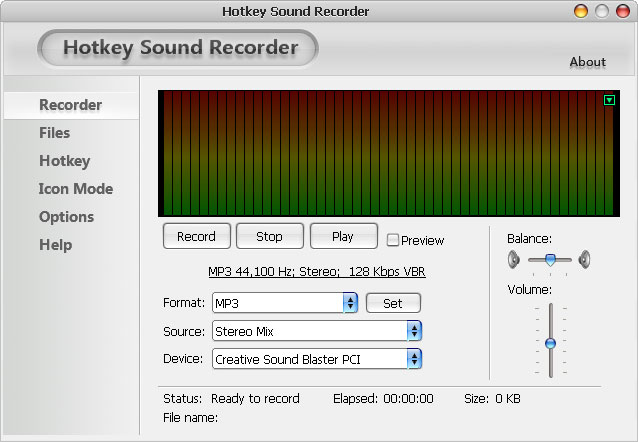 Click to view Hotkey Sound Recorder 3.0 screenshot